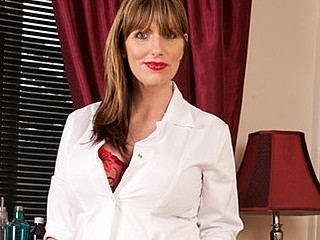 Enjoyable and breasty Anilos nurse frenzy copulates her labia with a marital-device
