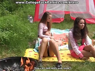 Extraordinary college porn threesome outdoors