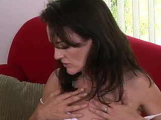 Dainty mother i'd like to fuck brings her hirsute twat to orgasm with a marital-device
