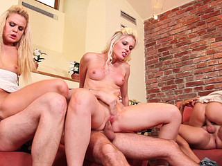 three favourable men exchange wifes relating to this hardcore swinger fuckfest