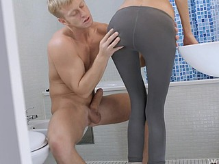 Blond loves to fuck her man in the washroom