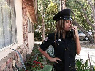 naughty police bitch gets fastened up