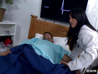 Sweet young asian doctor with a huge ass is playing with a female patient's body, then goes to her next patient which is a man. She takes advantage of the man's condition to expose his cock so that that babe may suck and play with it as that babe pleases. Will that babe have a hard cock in her wet pussy?