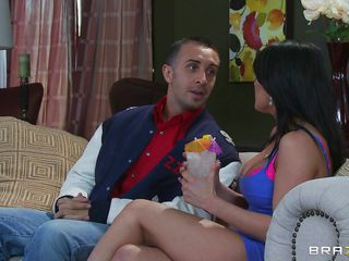 Look at this hot brunette with big tits and at Keiran Lee and how excited this guy gets when she tells him this guy can do what ever she wants with her. Look at him how this guy takes ice cubes and puts them on her hard nipples. After licking her nipples she takes his pants off and starts sucking his hard cock.
