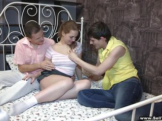 Horny blonde legal age teenager slut receives her obese interior sucked by these 2 chaps hither her bed. One of the chaps begins rubbing her left-hand little pussy and that neonate receives excited so that neonate begins sucking his cock. That neonate receives fucked hard like that neonate can't live without it.