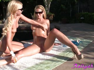 These 2 hot sluts wearing just sun glasses are sitting outside in the sun. They are kissing and have fun and start to massage each others flawless body. One of them want to be fingered in the wet crack so the other one grants her wish. Surely these 2 lesbos will have big orgasms finally.