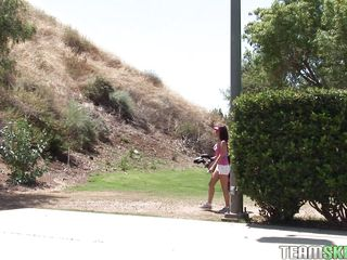 Carina Roman heads out to the driving range, looking hawt as hell. This babe can't hit the ball worth a damn, so she trades in that sport for one she knows she's good at: fucking! This babe gets in her man's arms and the clothes start coming off. U know she'll work his rod more excellent than she does a golf club.