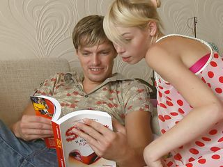 Young babe Alice is another of these cute, innocent-looking teens, but she's far from it! Here this blonde bitch is seducing her man by undressing and making his dick hard. See her kissing his rock hard rod and sucking it roughly after rubbing it. Is that babe making your penis stiff too? I bet that babe is!