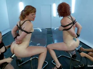 Come on girls, have a sit on those chairs and have a fun what the mistresses do to your hawt asses. These bitches are submissive and stay there all fastened up while the naughty mistresses play with them. One even receives her booty fisted unfathomable and hard, moaning like a dirty whore. Should she suck on a dildo to shut up?