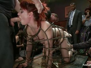 redhead milf in a cage abused with the addition of fucked