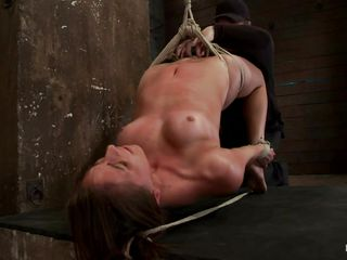 She's hanging on a rope and while her bald cunt is being vibrated the guy that is punishing her makes things a lot greater quantity hotter for her as that guy inserts his hard dick betwixt her priceless lips. The chick bows and obeys as her master does anything that guy desires with her body, after all that sucking will that guy have mercy for her and cum on that nice-looking face?