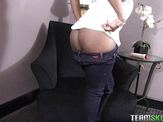 Hi boys take a look how I pull down my jeans for you and show my large darksome booty. My ass is sexy but what do you think about this pussy I have betwixt my voluptuous thighs. Isn't it perfect for something hard like this dildo? Stay with me as I masturbate for our pleasure because I've just lubed my large white dildo
