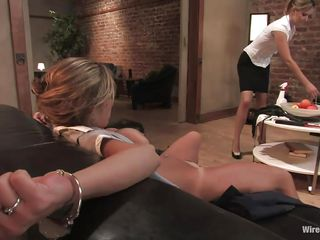 Felony is a brown haired woman with a good ass and big tits. She has been handcuffed to the sofa, and her legs had been tied. Watch Maitresse Madeline having fun with her charming body. This older woman knows how to treat her former boss. She attaches a manacled movie on her teats and starts to pull it hard.