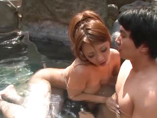 While they relaxing together Yuu's man feels the need for a fuck. His girl is always happy to aid him with this problem and sucks him before rubbing his hard dick with her big soft breasts. After that irrumation and titjob, Yuu gives her chap a rimjob and then rides him in reverse cowgirl taking all his dick unfathomable inside