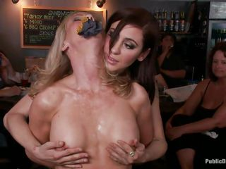 Blond mature Simone Sonay loves being punished in public places. This babe likes having her legs fastened in a bondage device as she stands. Watch her moaning with pleasure as Mark Davis and his allies are hanging a bucket to her labia in which they pour their drinks to make it heavier.