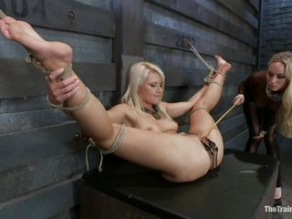Anikka Albrite is a hawt golden-haired milf with a gorgeous body. She enjoys being tied up and having iron clips attached to her pussy. Aiden Starr is the superlatively good sex trainer in the world. The golden-haired domina knows how she should deal with a slave. She takes her vibrator and starts rubbing on that nice cunt.
