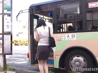 It was a sexy day and the busty Nippon milf hurried to catch the bus. This babe was sweaty and through that transparent blouse her luscious form were clear. As she waited to reach her destination the guy next to her touched her pantoons with precaution and seeing that she doesn't opposed this guy became rude and groped her roughly