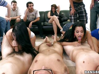 a big group fuck at the party with latinas