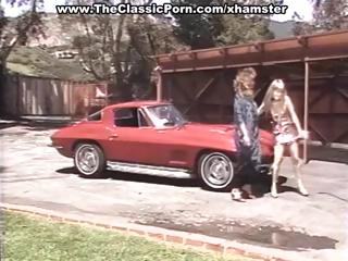 Shots from a classic porn movie with a lot of talking and a nice corvette