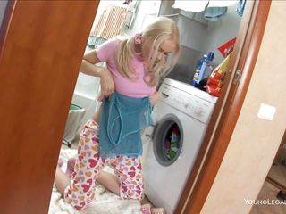 While taking out clothes from the washing machine, the pony tails young chick found a big dildo with rotation function. This babe looked at it and then, out of hesitation, inserted it in her shaved anus. She's blonde and has a superb butt so this is smth that's actually worth watching!