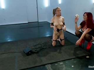 Mz Berlin got her paws on a pony tails blonde cutie. She is gonna delight herself with this youthful slut and make and obedient sex slave out of her with the help of electricity. Penny has electrodes all over her thin white body and Berlin enjoys tormenting her. Surely the pleasure just began so don't miss it!