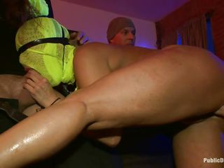 Hot slut Ava with actually big boobs has her face covered and gets humiliated in public for being such a bad bitch. She is sucking a hard dick, while getting her taut ass hole fisted. With a sextoy on her clitoris, she starts to squirt and then sits on the floor with her back arched for some greater amount fisting!