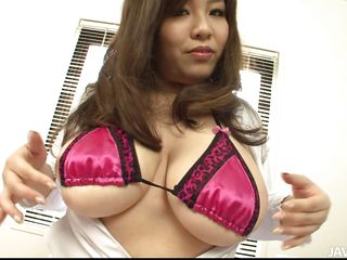 Yume Sazanami is a horny Japanese doctor who needs you to fuck her hard. she undoes her lab coat for show off her sexy pink lingerie and her massive, heaving fat tits. This babe takes tools to her teats and shows off her fat ass and thong.