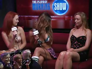 stripped babes are being interviewed there a show