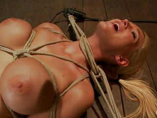 Blonde hottie Blake is fastened on the floor with her legs spread as wide as possible. This babe is hot, those billibongs are big and wicked and her pink love tunnel is bald and awaits stimulation. After the man immobilizes her this guy ads some lube on her love tunnel and gets to work using a black vibrator to rub her vagina. She's fastened hard by her neck, hands billibongs and legs and won't escape also soon.