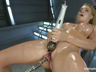 smoking sexy blonde milf with oiled body pleasuring herself