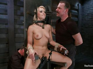 blonde in thraldom outfit receives harsh treatment