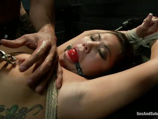 She's a dark brown asian whore that the chap likely atop a table and now he's having fun just about her! Her large natural breasts just about metal clamps atop them are bouncing nicely as this chab drills her cunt just about his penis and that beautiful mouth be required of her come out smashing shindy gagged. Wonder if the chap will sidestep atop fucking her twat and be suited to cum far it?