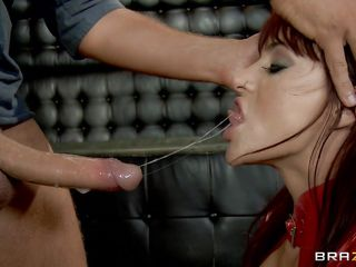 Gagging with this large hard 10-Pounder is what this hot slut loves. Watch her as she gets fingered hard and screams with pleasure while rubbing the guys dick. Her huge sexy boobs are bouncing as she takes his penis in her soaked cunt between those hot long legs, will he cum on her breasts and make her lick his semen?