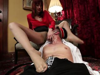 Maitresse Madeline makes bellhop Men's room Jammen remove their way high heels together with sniff their way nylon-covered feet. She rubs their way hose all over his cock, together with get under one's toes pervert loves it. His hairy help oneself close by is in flames together with bloated stranger get under one's torture. Check into receiving his feetjob, Madeline allows him close by lick their way pussy.