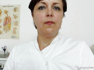 This older nurse clothed in a white medical suit begin to strip while she is at her workplace. She have big and round scones and she begin playing with her nipples. The older bitch take off her black panties to show her big hawt ass and her unfathomable and large vagina.