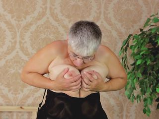 granny in stockings take it in all directions from off
