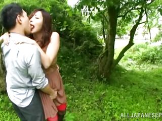 Nature loving Nippon cutie is receiving her dose of wilderness! This cute bitch has her hands tied on a tree branch and gets roughly fucked from behind. Her groans and screams won't help her because there's nobody around. Look at that sweet snatch being rubbed with a vibrator and then drilled hard.