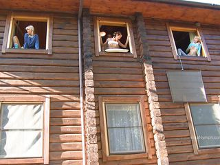 Three windows and three horny bitches, but only one is getting fucked and the other 2 are watching, One even takes photos! The one in the middle can't live without getting her vagina filled from behind by her man and it makes the other 2 hot as well. They start playing with themselves, watching their friend.