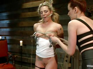 Bailey Blue is a gorgeous juvenile chick eager for some punishment. The good looking sex slave likes being tied up and having things attached to her body. See Maitresse Madeline rubbing her trimmed pussy with a vibrator while this babe has clothespins and clips with weights attached to her tits.