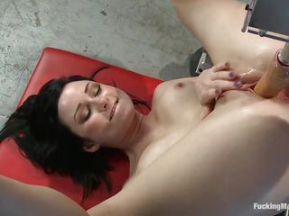 Veruca James is a hawt tattooed brunette milf longing for some cock. She can't live without having her cookie filled with guy meat. No guy being around her, that babe goes looking for a way to pleasure herself. Being a fortunate girl, that babe puts her hand on some fucking machines and starts using them for gorgeous moments.