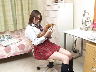 marvelous asian schoolgirl engulfing 3 men