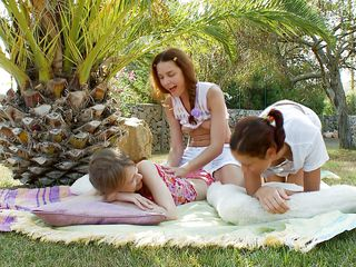 three sexy babes having beguilement outdoors
