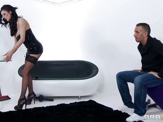 Keiran got a hawt milf maid. And sometimes this guy loves to humiliate her before fucking her marvelous good. The bitch wear lingerie all the time and Keiran loves to slap and harass her time to time. And when this guy gets slutty this guy took out her tops. Squeeze, slap and kiss those nice large tits. Rub and finger her tight pussy. And shove his hard large pecker in her mouth!