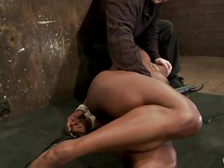 ebony bitch tied and laid on the surprise