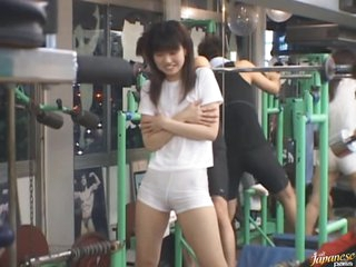 Sexy Japanese Chick Doing Exercise