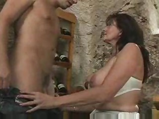 Fucking his busty stepfather close by dramatize expunge wine cellar...F70