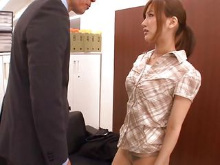 This office wench needs a hard fucking so her sever boss is about to solve that problem. At 1st he gropes and squeezes those small tits and then bows her over on the couch. The honey has a pair of superb legs and an butt that makes her employer finger it deep! Want to watch what else that babe will happen with her?