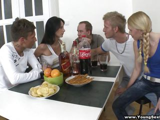 Helga and Monika are having drinks with Jose, Sean, and Troy. Of course, drinks will spill and Monika's shirt is ruined! Oh no, guess she'll have to take that off. The party proceeds then Sean goes to acquire a level (for what I don't know) stands on a chair while Monika sucks his dick. 3 vs. 2, this should be interesting...