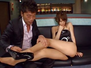 Damn those sexy legs can make a cock hard and what this babe has between them is absolutely delicious! I play with her hot legs and that sexy booty and then pull her panties to reveal a hairy cookie that needs my love. Akiho keeps her hips spread and I eat her taut pussy the way this babe deserves it, should I fuck it too?