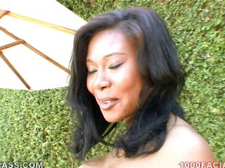 breasty ebony milf goes outdoor added to indoor